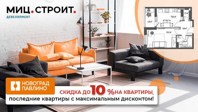 ЖК «Новоград Павлино» Скидки до 10% на квартиры